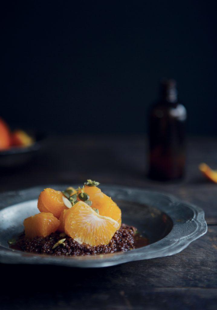 Tangerines au sirop de pain d'épices & quinoa crémeux au chocolat