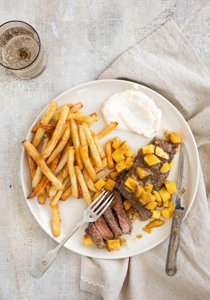 Steaks à la mangue & à l'ail