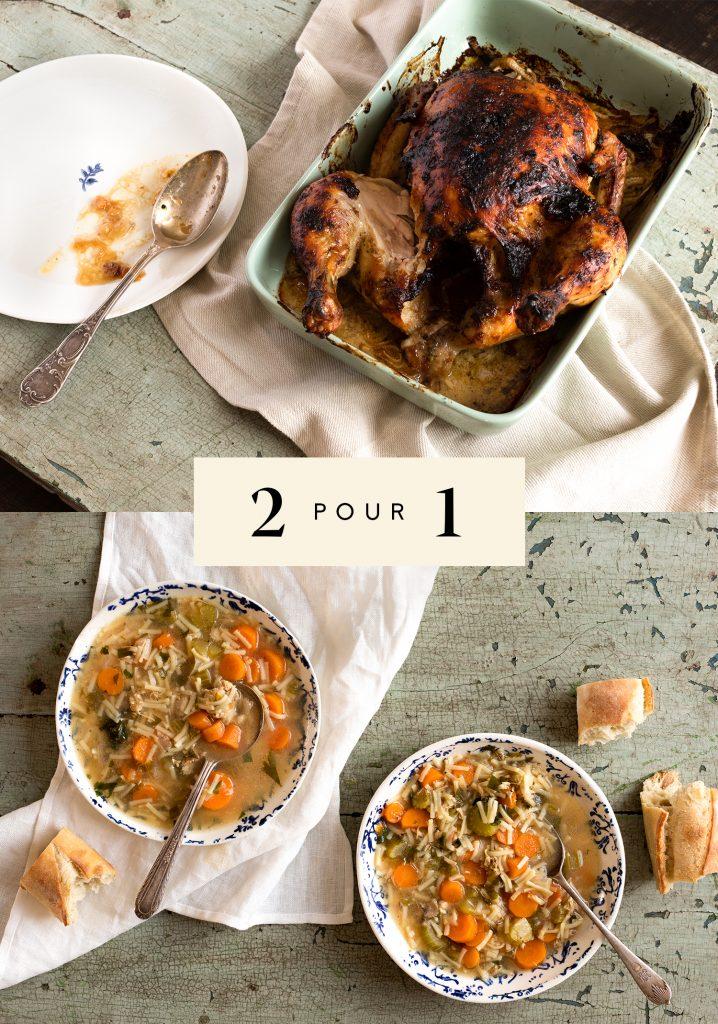 Poulet rôti aux herbes salées / Soupe poulet & nouilles