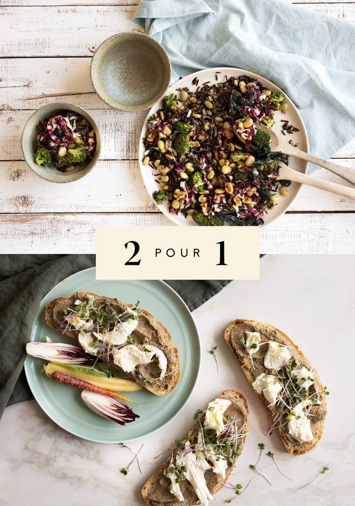 Salade de riz sauvage, radicchio & haricots de Lima / Tartines au houmous de légumes feuillus & à la mozzarella di bufala