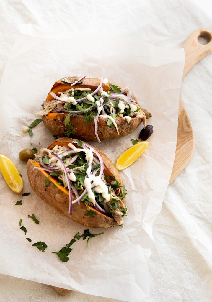 Patates douces garnies au poulet & aïoli au citron