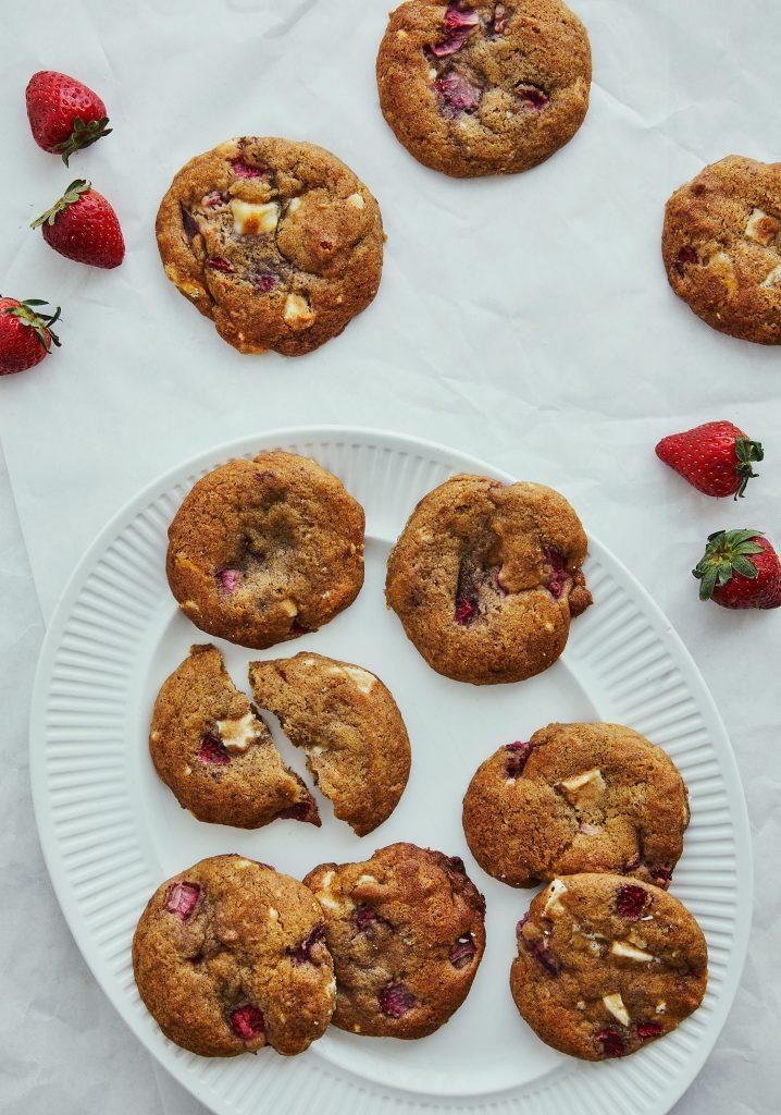 Biscuits mous au chocolat blanc & aux fraises