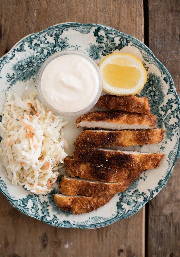 Escalopes de poulet (schnitzel) & aïoli express