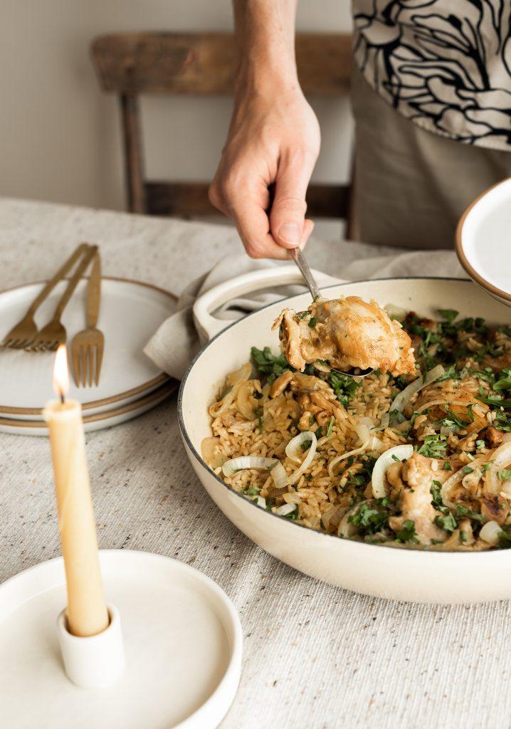 Pilaf one pot de poulet aux oignons